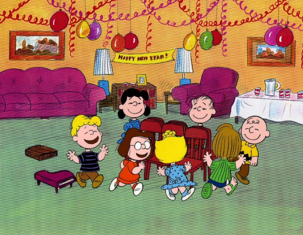 "HAPPY NEW YEAR, CHARLIE BROWN - The ABC Television Network and the PEANUTS gang will ring in the new year with the half-hour animated PEANUTS special, ""Happy New Year, Charlie Brown,"" created by late cartoonist Charles M. Schulz, airing MONDAY, DECEMBER 28 (8:00-9:00 p.m., ET), on the ABC Television Network. (© 1958, 1965, 1986 United Feature Syndicate Inc.) SCHROEDER, SALLY, MARCIE, SALLY, LINUS, PEPPERMINT PATTY, CHARLIE BROWN"